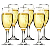 Kingrol 6 Ounce Glass Champagne Flutes, Set of 6 Elegant Sparkling Wine Glasses for Champagne, Cava,...