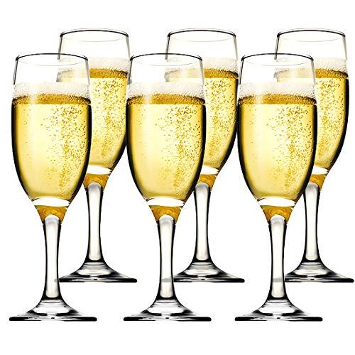 Kingrol 6 oz. Glass Champagne Flutes, Set of 6