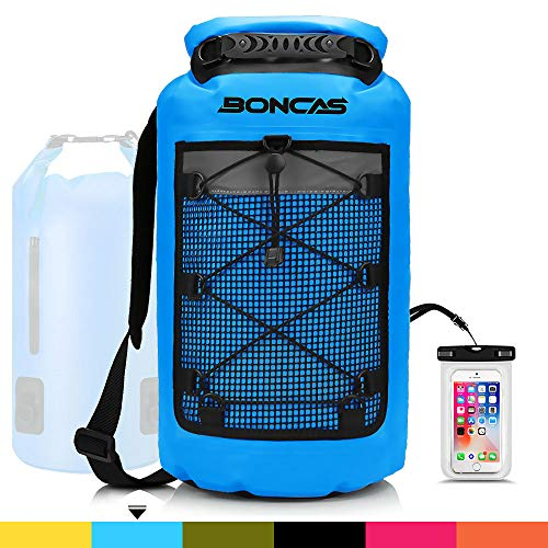 Boncas Waterproof Backpack, 10L Dry Bag with Waterproof Phone Pounch, Roll Top Bag Dry Sack Waterproof Dry Bag Perfect for Kayaking, Fishing, Rafting-Blue