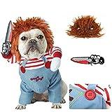 Gigicloud - Disfraz de perro con cúter para perros divertidos, ropa de cosplay para fiestas, Navidad, eventos especiales, talla M