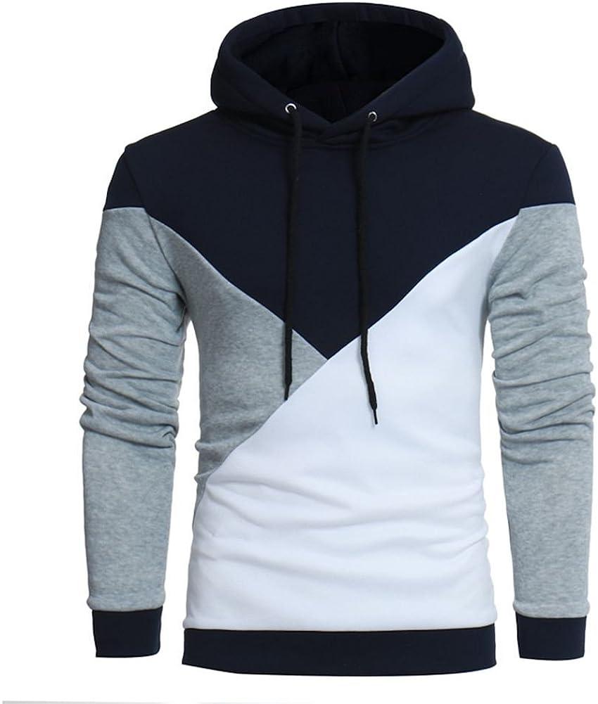 Men's Long Sleeve Patchwork Hoodie Hooded Sweatshirt Tops Jacket Coat Outwear
