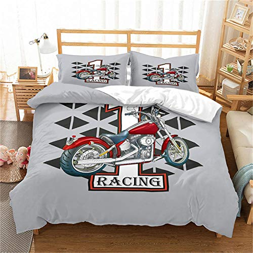 Double Duvet Cover Set Motocross Racer Grey City and Motorcycle 3D Print Quilt Cover Set with 2 Pillow Shames Lightweight Soft Microfiber Bedding Sets with Zipper Closure 3PCs-A_US-KING259cm×229cm