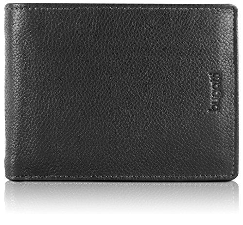 Bugatti Geldbeutel Männer Leder - Geldbörse Herren Schwarz - Portmonaise Portemonnaie Portmonee Brieftasche Wallet Ledergeldbeutel