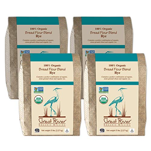 Great River Organic Milling, Bread Flour Blend, Rye Blend, Stone Ground, Organic, 5-Pounds (Pack of 4)