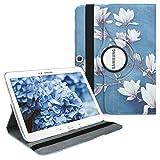 kwmobile Hülle kompatibel mit Samsung Galaxy Tab 3 10.1 P5200/P5210-360° Tablet Schutzhülle Cover Hülle - Magnolien Taupe Weiß Blaugrau