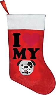A19SDW Christmas Stockings I Love My Dog Pug Funny Christmas Hanging Stocking 16.5 in Red and White Felt,for Family Holiday Xmas Halloween Party Decorations
