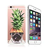 DECO FAIRY Compatible with iPhone 6 / 6s, Cute Pineapple Pug Pup Dog Animal Series Glossy PVC Hard Cover Case