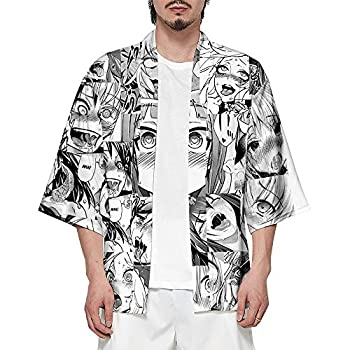 Unisex 3D Hentai Kimono 3/4 Sleeve Japanese Shawl Kimono Anime Tops Cover up  Ahegao X-Large