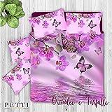 PETTI Artigiani Italiani Completo Letto, Multicolore (Orchidee e Farfalle), Singolo