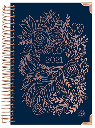"HARDCOVER bloom daily planners 2021 Calendar Year Day Planner (January 2021 - December 2021) - Passion/Goal Organizer - Monthly & Weekly Inspirational Agenda Book - 6"" x 8.25"" - Navy Embroidery"