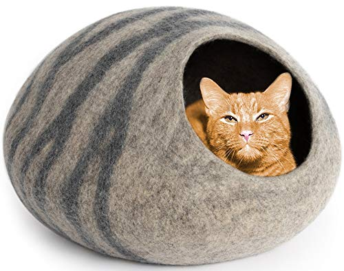 MEOWFIA Premium Felt Cat Cave Bed (Large) - Eco Friendly 100% Merino Wool Bed for Large Cats and Kittens(Large, Light Grey)
