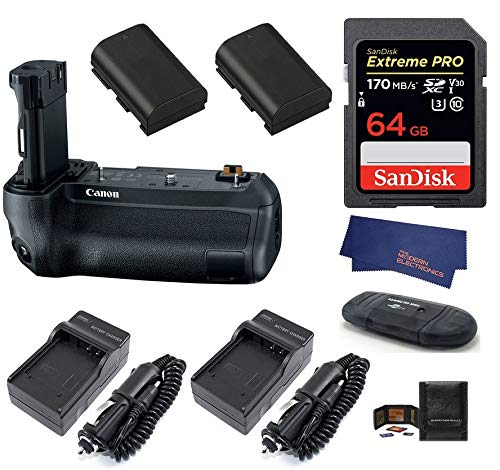 Canon BG-E22 Battery Grip + SanDisk 64GB Extreme PRO SDXC Card + 2 Batteries + 2 AC/DC Travel Chargers + More