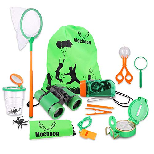 Mochoog Bug Catching Kit for Kids/Outdoor Explorer Kit, Camping Hiking Set with Binoculars, Flashlight, Compass, Butterfly Net, Christmas Birthday Gifts for 3 4 5 6 7 8 Year Boys & Girls