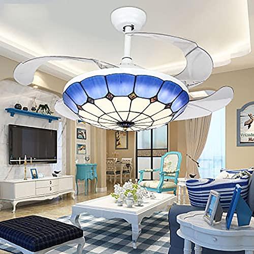 Ventilador Techo con Luz Y Mando A Distancia Regulable Lamparas Ventilador De Techo Dormitorio Lampara Ventilador Techo Dormitorio Salon Habitación Infantil Dormitorio 6 Velocidades 108CM,Azul