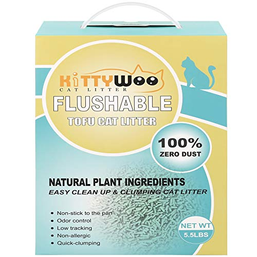KITTYWOO Tofu Cat Litter, Natural Flushable Cat Litter Easy Clumping Kitty Litter Low Tracking Dust Free & Ultra Odor Control Cat Litter (Green Tea)