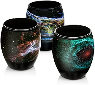 Nebula Glass Set with Images from NASA's Spitzer and and Hubble Space Telescopes