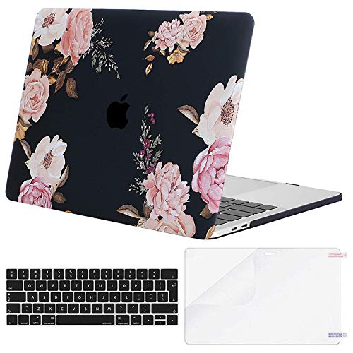 MOSISO MacBook Pro 13 Case 2019 2018 2017 2016 Release A2159 A1989 A1706 A1708, Plastic Hard Case & Keyboard Cover & Screen Protector Compatible with MacBook Pro 13, Pink Peony