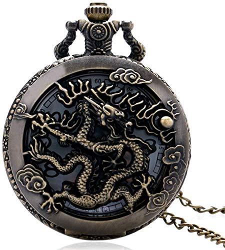 ZHANGYY Vine Watch Collar Zodiac Dragon Hollow Relojes Mujeres Hombres Cuarzo Libélula...
