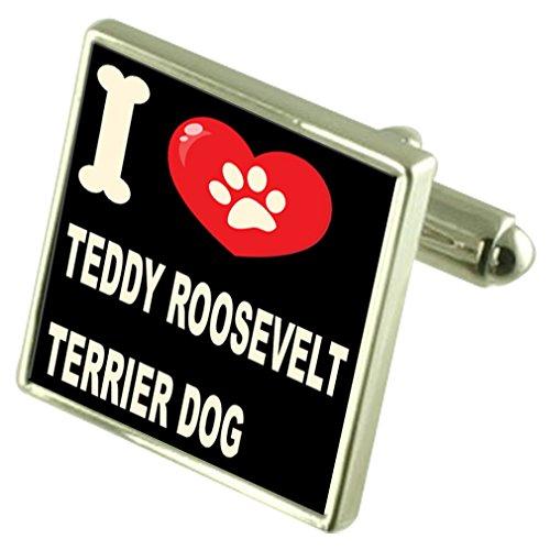 Select Gifts Silber 925 Manschettenknöpfe & Anleihe Geld Clip - ich liebe Teddy Roosevelt Terrier