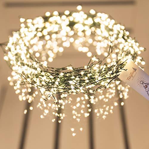 FAIRYTREES Micro LED Lichterkette für Weihnachtsbaum PREMIUM, FairySparks 500 LEDs, Farbtemperatur 2700K (warmweiß), grüner Kupferdraht 10m (IP44), FS500