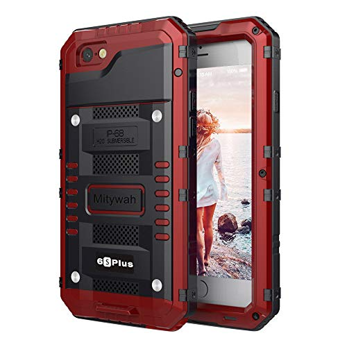 Mitywah Waterproof Case Compatible with iPhone 6/ 6S Plus,Heavy Duty Durable Metal Full Body Protective Case Built-in Screen Protection Shockproof Dustproof Rugged Military Grade Defender,Red