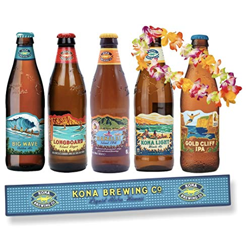 Kona Brewing Hawaii Bier Mix je eine Flasche Longboard Lager, Big Wave, Gold Cliff, Kona Light, Hanalei, inkl Bar Runner/Barmatte und Hawaii Kette