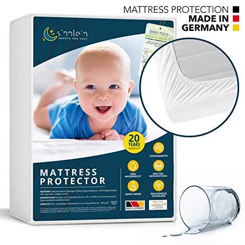 sinnlein® waterdichte matrasbeschermer 70 x 140 cm - ademende matraslegger molton, Standard 100 by Oeko-TEX®, Made in Germany, matrasbescherming zonder knisperen