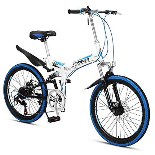 ZXQZ Bicicleta de Montaña Plegable a Campo Traviesa de 22 Pulgadas, para Estudiantes Adolescentes (Color : Blue)