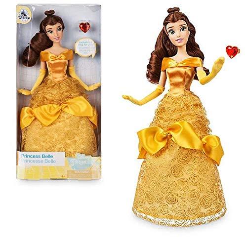 Disney Principesse Scintillanti Belle LA Bella E LA Bestia con Anello - Bambola SNODABILE