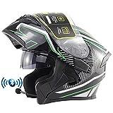 Casco de Moto Modular Bluetooth Integrado con Doble Anti Niebla Visera Cascos de Motocicleta ECE Homologado a Prueba de Viento para Adultos Hombres Mujeres 55-62CM