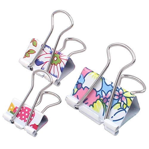 Z Zicome 50 Pack Colorful Printed Binder Clips, Assorted Sizes (Floral)