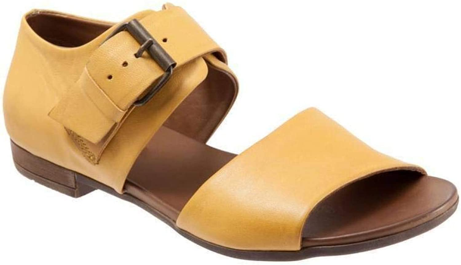 MEIZOKEN Women's Peep Toe Gladiator Sandals Ankle Buckle Low Chunky Block Heel Hollow Out Casual Flat Sandal Yellow