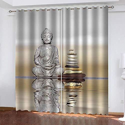 Fvvsovs Cortinas opacas con impresión 3D, estatua de Buda religiosa, yoga, meditación, aislamiento térmico, cortinas opacas para dormitorio, 182 x 214 cm