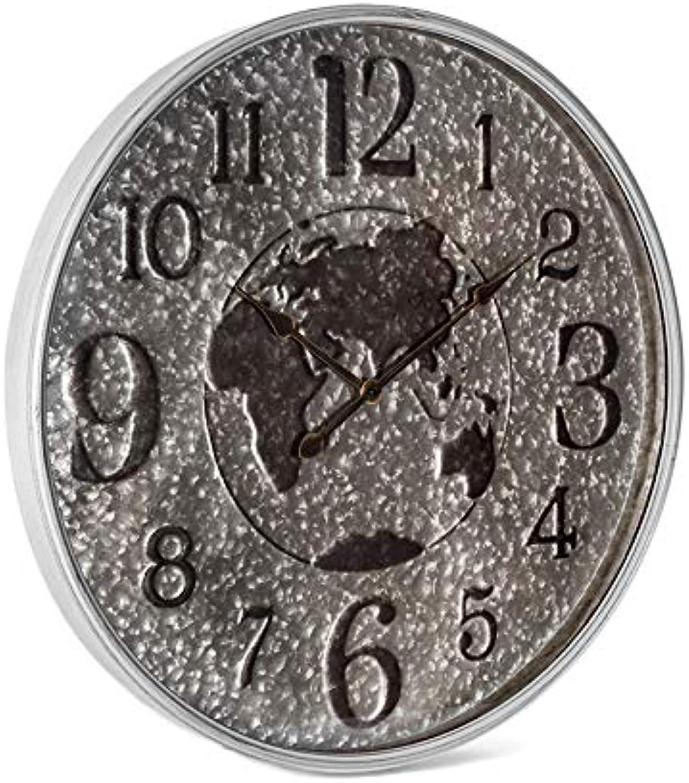 Large Wall World Clock W Glass Hanging Art Decor Metal Silver Black 72X72CM