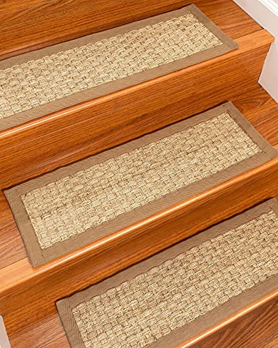 Natural Area Rugs 100% Natural Fiber Basketweave, Seagrass, Handmade Stair Treads Carpet Set of 13 (9'x29') Malt Border, Stair Tread Carpet Non-Slip for Kids Pets Elder, Attractive and Durable