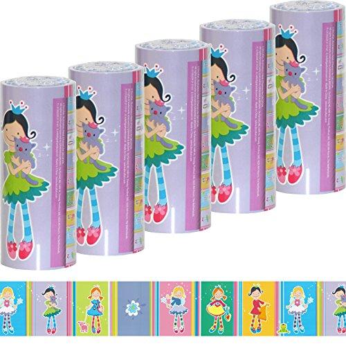 5 Rollen Kinder Bordüre [ selbstklebend ] Tapeten-Borte mit Prinzessin Motiv für Mädchen Kinderzimmer Borde rosa pink lila (5 Rollen)