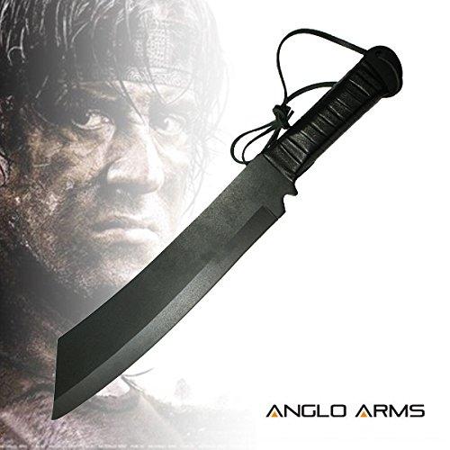 Deluxe Outdoormesser Jagdmesser im Stil 'Rambo IV' (K-SUR-4) mit Lederetui und Gürtelhalter