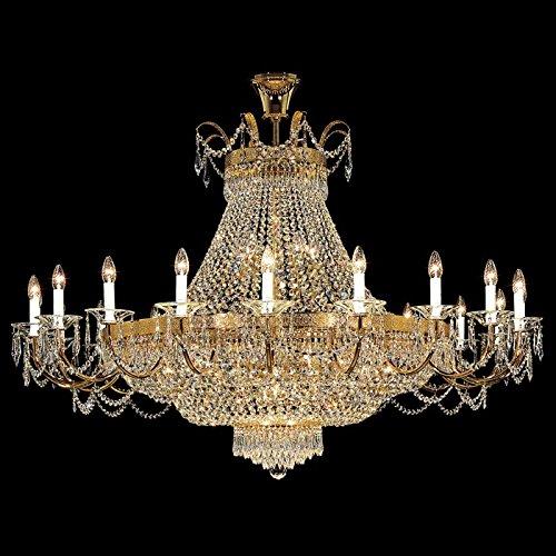 Empire Kristall Kronleuchter Kolarz-Leuchten in 24 Karat Gold gold hell | Handgefertigt in Italien | Luster Klassisch Dimmbar | Lampe E14