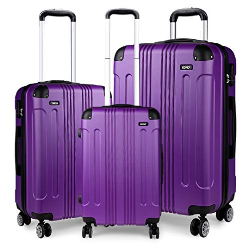 Kono Luggage Sets of 3 Piece Lightweight 4 Wheels Hard Sheel ABS Travel Trolley Suitcases (Purple)