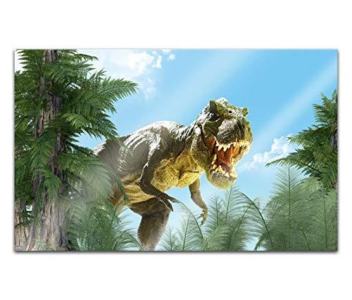 Acrylglasbilder 80x50cm cartoon T-Rex Dino böse Dschungel Drache Acryl Bilder Acrylbild Acrylglas Wand Bild 14H1716