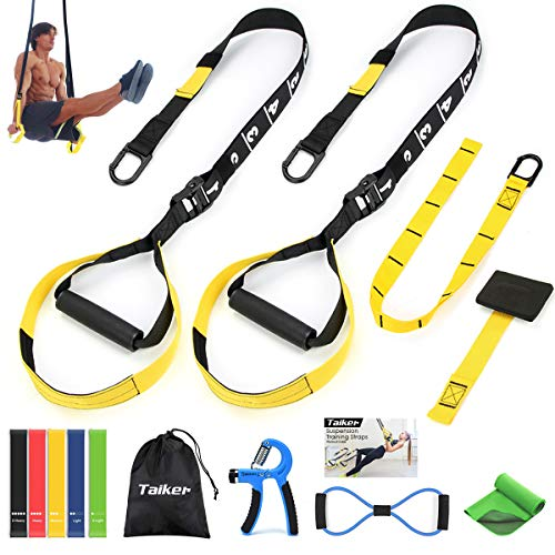 Bodyweight Resistance Training Straps, Suspension Trainer Kit, Door Anchor & Extension Strap, 5 Exercise Loop Bands, 8-Shaped Resistance Band, Hand Grip Strengthener, Cooling Towel for Home,Travel