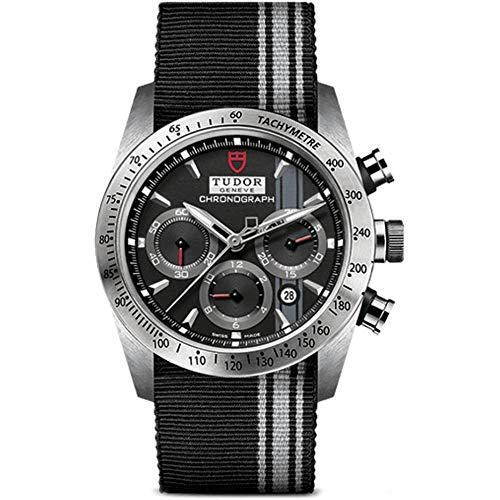 Tudor Men's 42mm Black Cloth Band Steel Case Automatic Watch m42000-0009