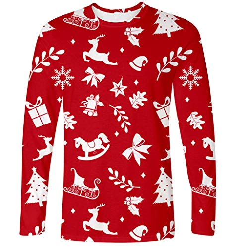 Read About Mens Ugly Christmas T-Shirt, Sled Cartoon Pattern Regular Fit Long Sleeve Top Blouse (L, ...