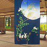 LIGICKY Giapponese Noren Tenda Ristorante Lungo Curtain Doorway Curtains Corridoio Decorazione Domestica Blu (Coniglia e Luna,85 * 150cm)