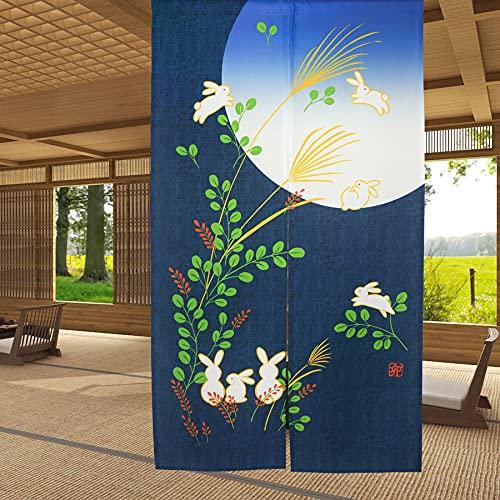 LIGICKY Japanese Doorway Curtain Noren Cute Rabbit Under Moon Decoration Blue 33x59inch