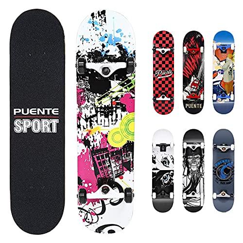 NACATIN 602 Skateboard Komplettboard mit ABEC-9 Kugellager 92A PU Räder 8-langigem Ahornholz 80x20cm