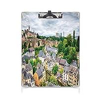 クリップボード A4 風景 学用品A4 バインダー 旧市街の眺めルクセンブルク市観光地ヨーロッパ風光明媚な写真 A4 タテ型 クリップファイル ワードパッド ファイルバインダー 携帯便利多色