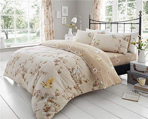 Homemaker Bedding duvet set blossom flowers birds natural beige & ochre (King)