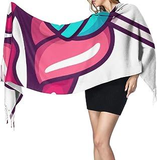 27 'x77' Conjunto de bufanda para niñas Labios femeninos Lamiendo Lollipop Envoltura de niña Chal Envoltura Bufanda linda ...