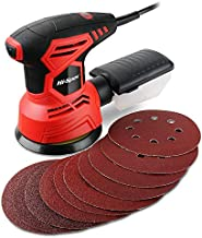 Hi-Spec 12 Piece 2A 240W Random Orbital Disc Palm Sander & 10 Sanding Papers. Sand Down, Smooth & Finish DIY Woodworking Projects, Remove Paint & Varnish